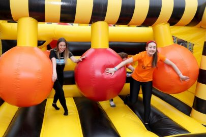 Indoor funfair, inflatable obstacle course